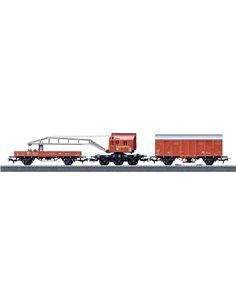 Set treno vigili del fuoco con carro gru di DB Notfalltechnik in scala H0 Märklin Start up 44752