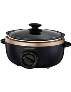 Morphy Richards Sear&Stew 3.5L Pentola per cottura lenta Slow Cooker Nero, Rosa oro