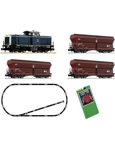 Fleischmann 931705 Kit di avviamento analogico: Locomotiva diesel BR 212 con treno merci, DB AG