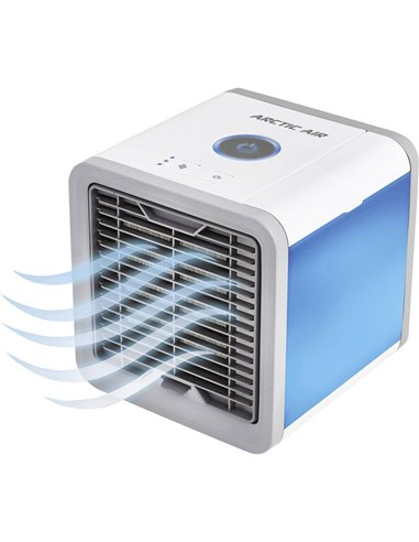 MediaShop Arctic Air Raffrescatore evaporativo 10 W (L x L x A) 17 x 17 x 17 cm Bianco, Grigio con luci datmosfera