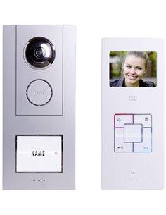 m-e modern-electronics Vistus VD6310 Video citofono Cablato Kit completo Casa Monofamiliare Argento, Bianco